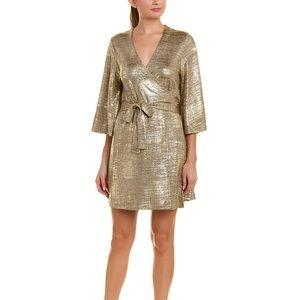 NWT Julie Brown Gold Wrap Dress
